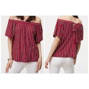 Ann Taylor Loft Red Striped Off the Shoulder Top